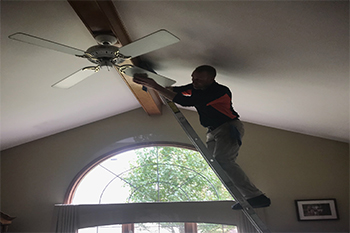 Ceiling fan cleaning in macomb county michigan by brighter outlook dont risk injury to yourself attempting to clean them with a ladder we have the proper equipment and trained technicians to clean all ceiling fans in your aloadofball